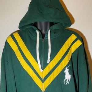 Ralph Lauren Polo Rugby Hoodie Green & Yellow XXXL